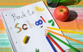 Картинка рисунок, яблоко, карандаши, школа, тетрадь