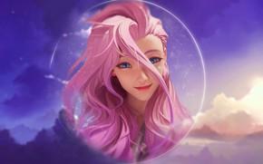 Картинка girl, sky, pink, anime, clouds, lol, league of Legends, seraphine