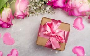 Картинка день рождения, подарок, розы, букет, поздравление, Alouette2019