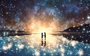 Картинка лед, небо, солнце, ночь, фэнтези, влюбленные