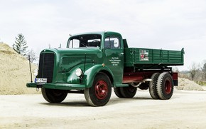 Картинка песок, Mercedes-Benz, грузовик, зелёный, самосвал, капотный, двухосный, L-series, самосвал с трёхсторонней разгрузкой, LK 315 Dreiseitenkipper