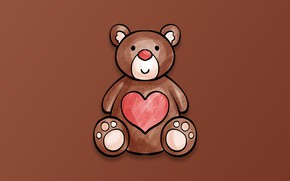 Картинка minimalism, heart, Valentine's Day, digital art, teddy bear, artwork, simple background