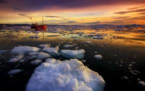 Картинка море, корабль, лёд