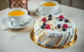 Картинка ягоды, чай, торт