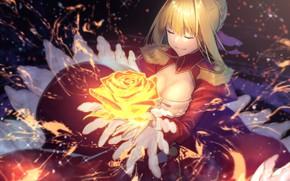 Картинка девушка, магия, роза, сейбер, Fate / Grand Order, Судьба великая кампания