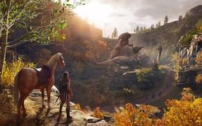 Обои листья, лес, осень, лошадь, Assassin's Creed Odyssey, деревья