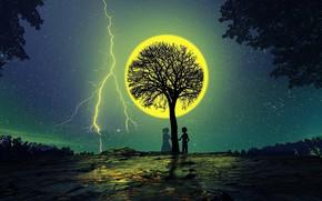 Картинка ночь, дерево, луна, романтика, силуэты