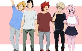 Картинка Boku no Hero Academia, My Hero Academia, Kaminari Denki, Bakugou Katsuki, Ashido Mina, Sero Hanta, …