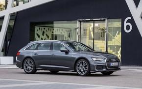Картинка Audi, фасад, 2018, универсал, тёмно-серый, A6 Avant