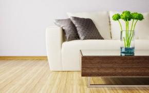 Картинка цветы, диван, интерьер, ваза, гостиная, пудушки