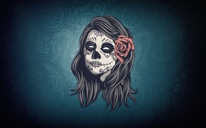 Картинка Девушка, Стиль, Фон, Día de los Muertos, Dia de los Muertos, Sugar Skull, Катрина, Сахарный …
