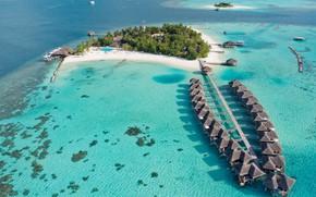 Картинка острова, океан, курорт, лагуна, Maldives, A Kuoni Hotel, Maafushivaru Maldives