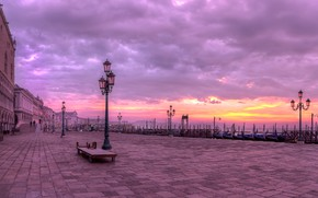 Картинка утро, Италия, Венеция, набережная, гондолы