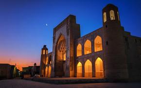 Картинка огни, вечер, ворота, площадь, Узбекистан, Бухара