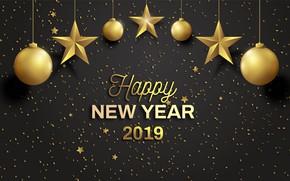 Картинка фон, праздник, черный, Новый год, New year, 2019