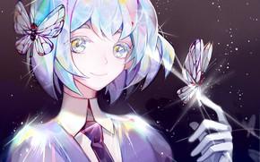 Картинка девушка, улыбка, бабочка, Houseki no Kuni, Страна Самоцветов