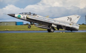 Картинка Истребитель, Посадка, ВПП, Шасси, SAAB, ВВС Швеции, Saab 35 Draken