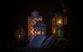 Картинка фон, лампы, книга