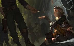 Картинка солдат, Legends of Runeterra, бродяжка, подачка