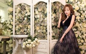 Картинка девушка, цветы, платье, азиатка