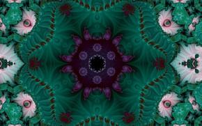 Картинка цветок, узор, зелёный, фрактал