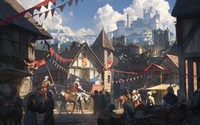 Картинка fantasy, street, people, houses, village, castle, artist, digital art, knights, artwork, fantasy art, Cmy Cai