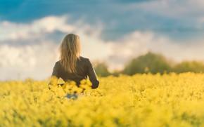 Картинка поле, девушка, природа, волосы, весна, куртка, цветение