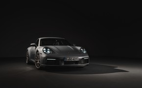 Картинка фон, купе, 911, Porsche, тёмный, Carrera 4S, 992, 2019