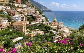 Картинка море, горы, дома, Италия, Амальфи