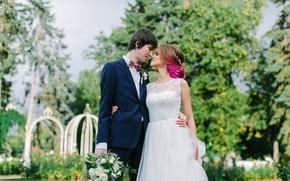 Картинка девушка, природа, букет, пара, парень, влюбленные, невеста, свадьба, жених