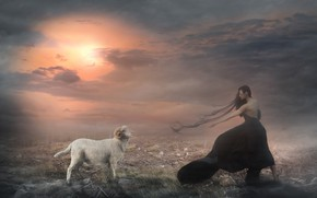 Картинка белый, девушка, солнце, облака, поза, туман, рендеринг, баран, черное платье, овца