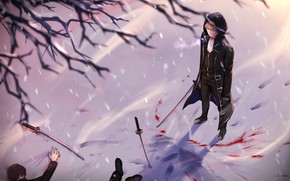Картинка снег, меч, парень, трупы, Gintama, Гинтама