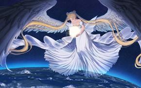 Картинка Девушка, Ангел, Свет, Сфера, Sailor Moon