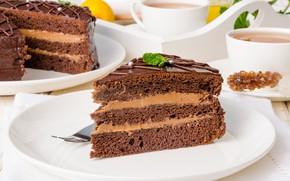 Картинка чай, чашки, торт, слои, крем, десерт, кусочек торта, шокодный