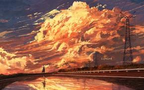 Картинка небо, вода, девушка, закат