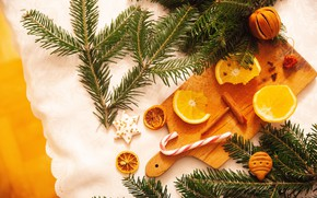Картинка ветки, апельсины, печенье, Рождество, Новый год, хвоя, композиция, разделочная доска