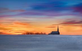 Картинка храм, зима, закат