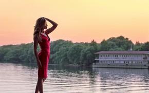 Картинка girl, summer, river, lake, hair, beautiful girl, blonde, blondie