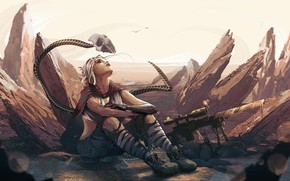 Картинка Girl, skull, fantasy, soldier, desert, digital art, artwork, fantasy art, sitting, sniper rifle, fantasy girl