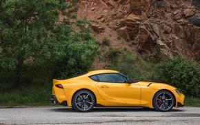 Картинка жёлтый, купе, Toyota, Supra, пятое поколение, в профиль, mk5, двухместное, 2019, GR Supra, A90, Gazoo …