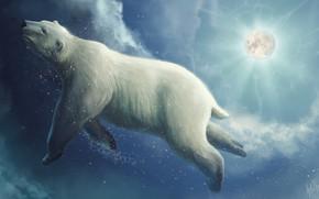 Картинка Рисунок, Луна, Медведь, Moon, Clouds, Art, Фантастика, Белый медведь, Bear, Polar bear, Into The Bear, …