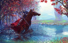 Картинка colorful, fantasy, forest, river, armor, trees, weapon, horse, digital art, artwork, warrior, fantasy art, Knight, ...
