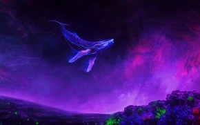 Картинка Космос, Туманность, Кораллы, Кит, Fantasy, Арт, Underwater, Фантастика, Ocean, Illustration, Concept Art, Whale, Environments, Adam …