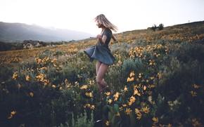 Картинка поле, девушка, цветы, танец, платье, ножки, Spring is here, Zach Allia