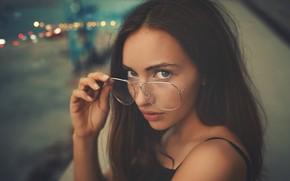 Картинка взгляд, девушка, очки