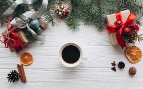 Картинка украшения, Новый Год, Рождество, подарки, Christmas, wood, New Year, decoration, gift box, Merry, ветки ели, …