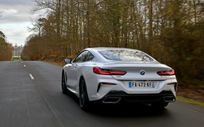 Картинка дорога, белый, деревья, купе, BMW, 2018, 8-Series, 8er, G15, 840d xDrive M Sport