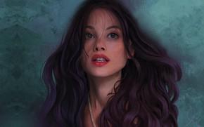 Картинка девушка, портрет, арт, Mandy Jurgens, Portrait of Astrid Berges Frisbey