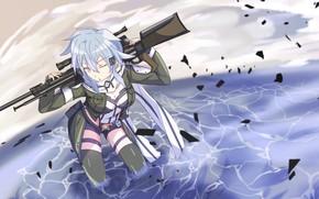 Картинка девушка, оружие, Мастера меча онлайн, Sword Art Online, Синон