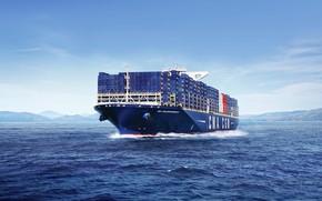 Картинка Океан, Море, Судно, Контейнеровоз, Бак, CMA CGM, Vessel, Container Ship, CMA CGM Bougainville, M/V CMA …